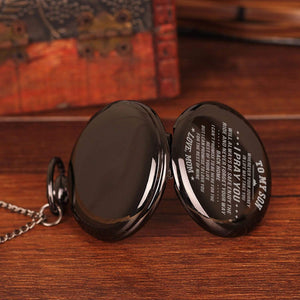 Mom To Son-Love You The Rest Of Mine Personalized Engraved Quartz Pocket Chain Watch 4514