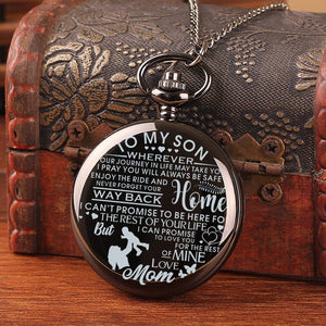 Mom To Son-Love You The Rest Of Mine Personalized Engraved Quartz Pocket Chain Watch 4536
