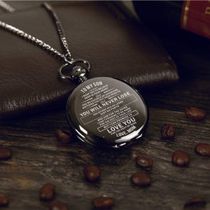 Mom To Son-Love You The Rest Of Mine Personalized Engraved Quartz Pocket Chain Watch 4542