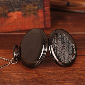 Mom To Son-Love You Till My Day Are Done Personalized Engraved Quartz Pocket Chain Watch 4537