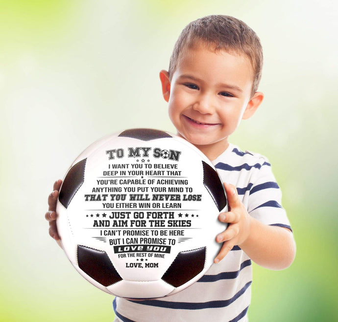 Mom To Son Never Lose Engraved Soccer Ball Birthday Christmas Gift Ideas