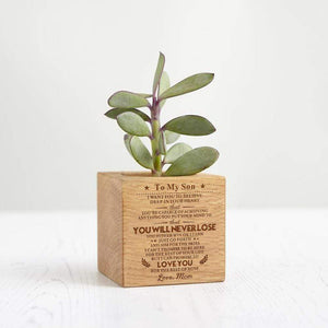 Mom To Son Personalized Steamed Beech Micro Plant Pot PL004