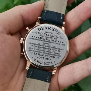 Mom To Son-Proud Of You Customized Metal Engraved Wrist Watch