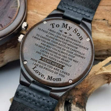 Load image into Gallery viewer, Mom to Son- So Proud Of You Engraved Wooden Watch W1830