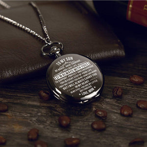 Mom To Son-You Are My Little Boy Forever Personalized Engraved Quartz Pocket Chain Watch 4517