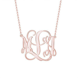 Monogram Customized Initial Necklace Rose Gold Color