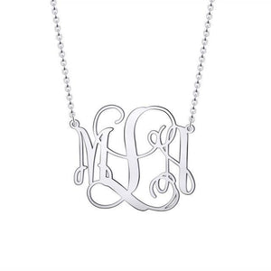 Monogram Customized Initial Necklace Platinum Color