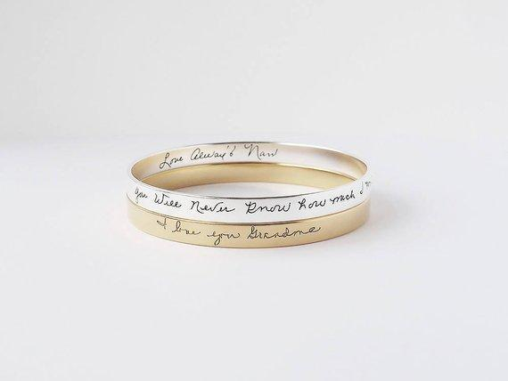 Mother's day Gift Personalized Handwriting Bangle Silver- Outside ($57.00) / XS