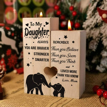Load image into Gallery viewer, Mum To Daughter-I love You More Than You Know Engraved Solid Oak Wood Candle Holder 21