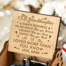 Load image into Gallery viewer, Nana To Grand Daughter-Love You More Than You Know Engraved Wooden Music Box  MB024