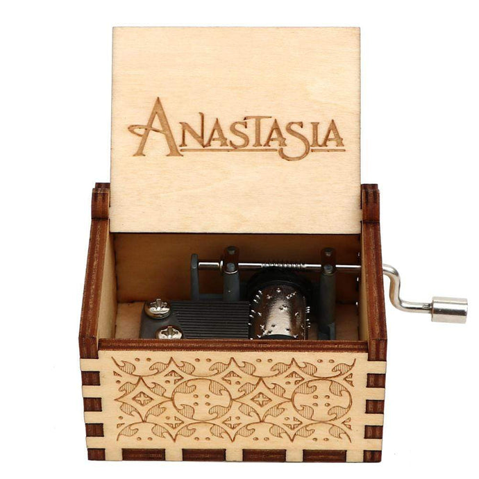 NEW Anastasia Engraved Hand Cranked Wooden Music Box