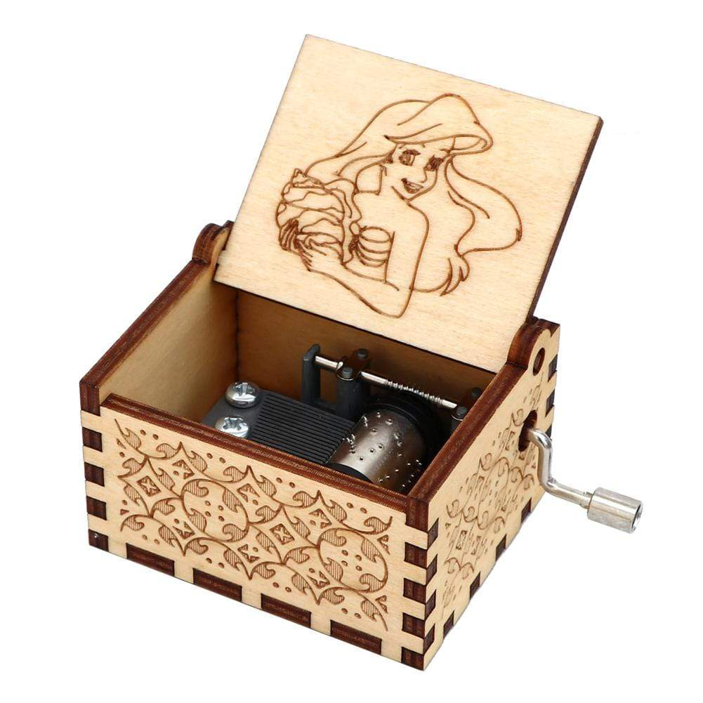 NEW Mermaid Engraved Hand Cranked Wooden Music Box Mermaid 1