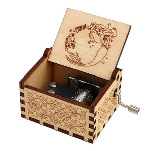 NEW Mermaid Engraved Hand Cranked Wooden Music Box Mermaid 2