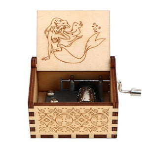 NEW Mermaid Engraved Hand Cranked Wooden Music Box