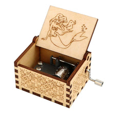 Load image into Gallery viewer, NEW Mermaid Engraved Hand Cranked Wooden Music Box Mermaid 4