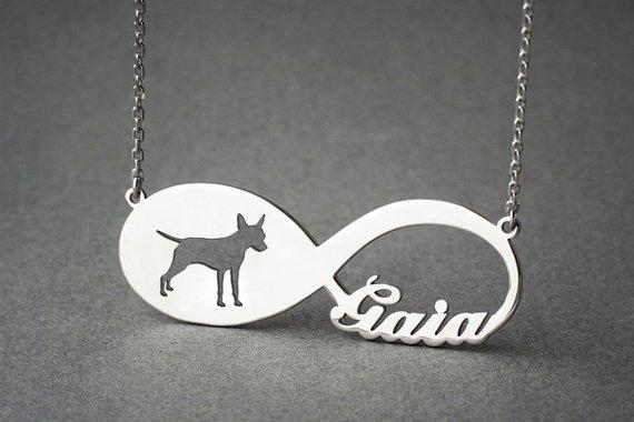 Personalised Infinity Dog Necklace Silver / Kids(38cm)