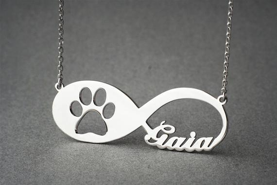 PERSONALISED INFINITY PAW Necklace Cat Necklace Silver / Kids(38cm)