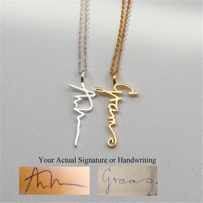Personalized Actual Signature Necklace Gold-color