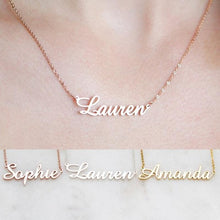 Load image into Gallery viewer, Personalized Cursive Name plated Pendants 2019 Rose Gold Color