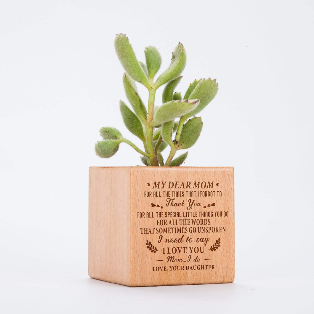 Personalized Daughter To Mom Steamed Beech Wood Micro Plant Pot PL014