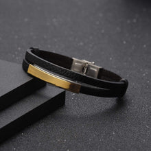 Load image into Gallery viewer, Personalized Engraved Leather Bracelet For Men's Gift Gold