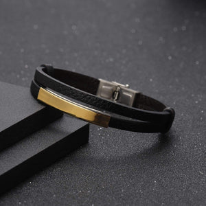 Personalized Engraved Leather Bracelet For Men's Gift Gold