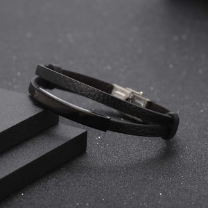 Personalized Engraved Leather Bracelet For Men's Gift