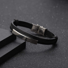 Load image into Gallery viewer, Personalized Engraved Leather Bracelet For Men's Gift