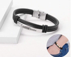 Personalized Engraved Leather Bracelet For Men's Gift Silver