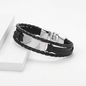 Personalized Engraved Leather Cuff Bracelet For Men's Gift