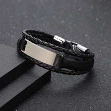 Load image into Gallery viewer, Personalized Engraved Leather Cuff Bracelet For Men's Gift