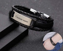 Load image into Gallery viewer, Personalized Engraved Leather Cuff Bracelet For Men's Gift Gold