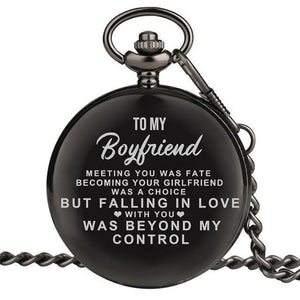 Personalized Engraved Pocket Watch For Men, Color - To Boyfriend