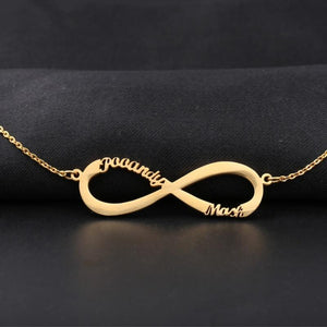 Personalized Infinity Name Necklace -Up To 6 Names  Gold-color
