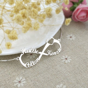 Personalized Infinity Name Necklace -Up To 6 Names Platinum Plated