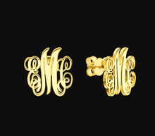 Load image into Gallery viewer, Personalized Initial Monogram Earrings, Metal Color - Gold-color Default Title