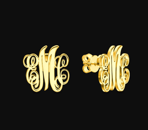 Personalized Initial Monogram Earrings, Metal Color - Gold-color Default Title
