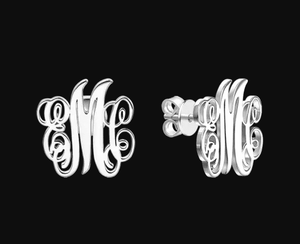 Personalized Initial Monogram Earrings, Metal Color - Platinum Plated Default Title