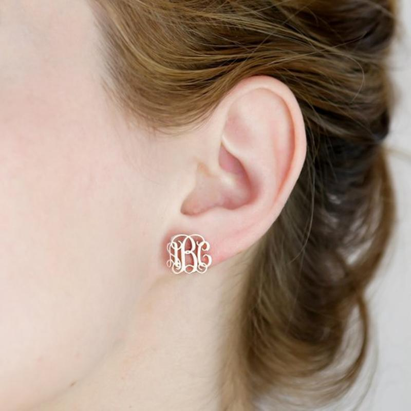 Personalized Initial Monogram Earrings, Metal Color - Rose Gold Color Default Title
