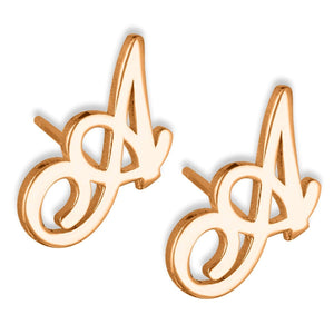 Personalized Initial Name Earrings For Kids Rose Gold Color