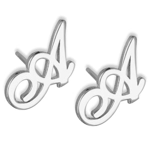 Personalized Initial Name Earrings For Kids Platinum Plated