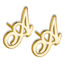 Load image into Gallery viewer, Personalized Initial Name Earrings For Kids Gold Color