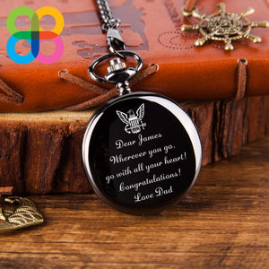 Personalized Military Gift Engraved Quartz Pocket Chain Watch Black For Son or Husband