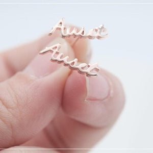 Personalized Name Earrings Rose Gold Color