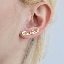 Load image into Gallery viewer, Personalized Name Earrings Gold Color