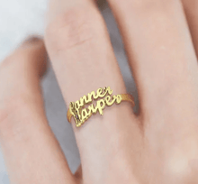 Load image into Gallery viewer, Personalized Name Ring 2 Names Gold Color
