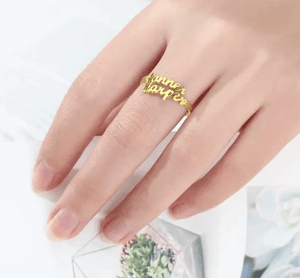 Personalized Name Ring 2 Names Gold Color