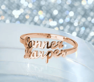 Personalized Name Ring 2 Names Rose Gold Color