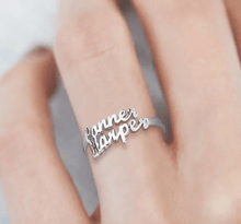 Load image into Gallery viewer, Personalized Name Ring 2 Names Platinum Plated