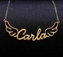 Load image into Gallery viewer, Personalized Women's Angel Wings Name Necklace Gold / S15